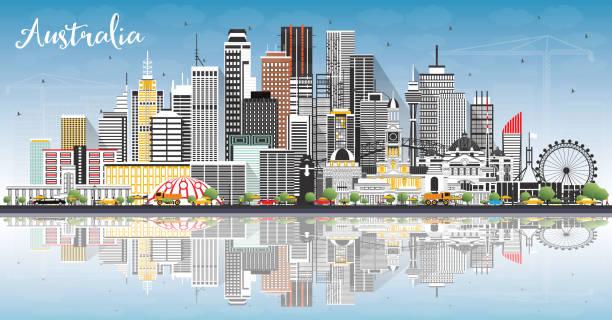 bildbanksillustrationer, clip art samt tecknat material och ikoner med australien city skyline med grå byggnader, blå himmel och reflektioner. - canberra skyline