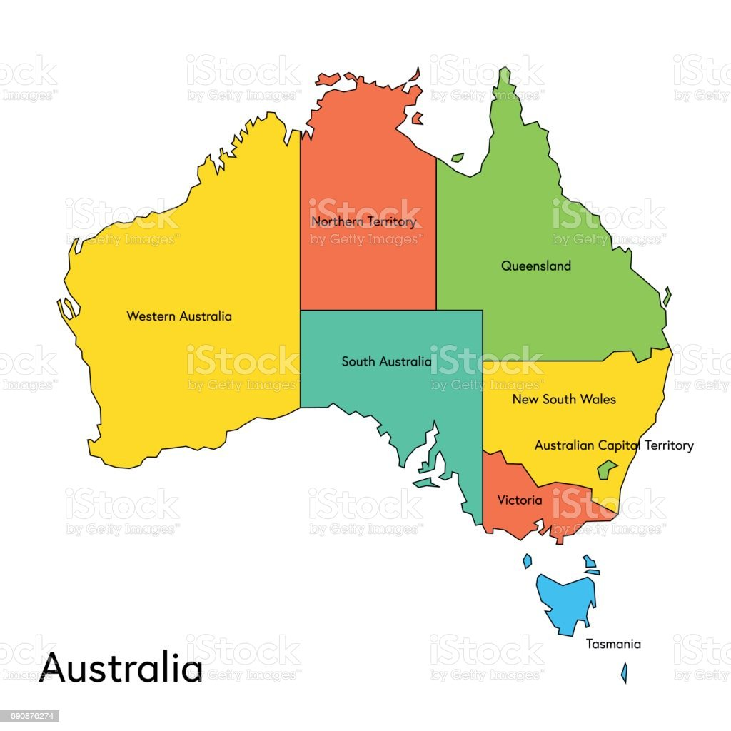 Map Of Australia Regions.Australia Color Map With Regions And Names Stock Illustration