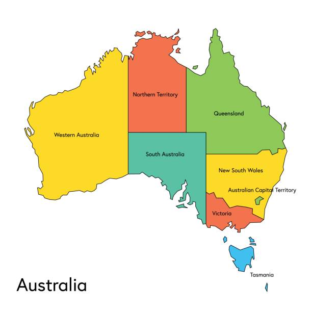 Australia color map with regions and names vector art illustration