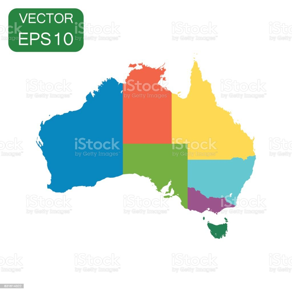 Australia color map with regions icon. Business cartography concept Australia pictogram. Vector illustration on white background. royalty-free australia color map with regions icon business cartography concept australia pictogram vector illustration on white background stock illustration - download image now