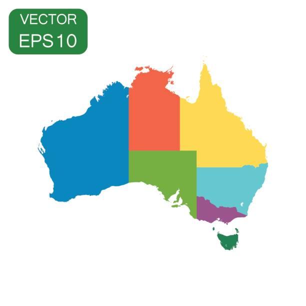 bildbanksillustrationer, clip art samt tecknat material och ikoner med australien färgkarta med regioner ikon. business kartografi konceptet australien piktogram. vektorillustration på vit bakgrund. - australia