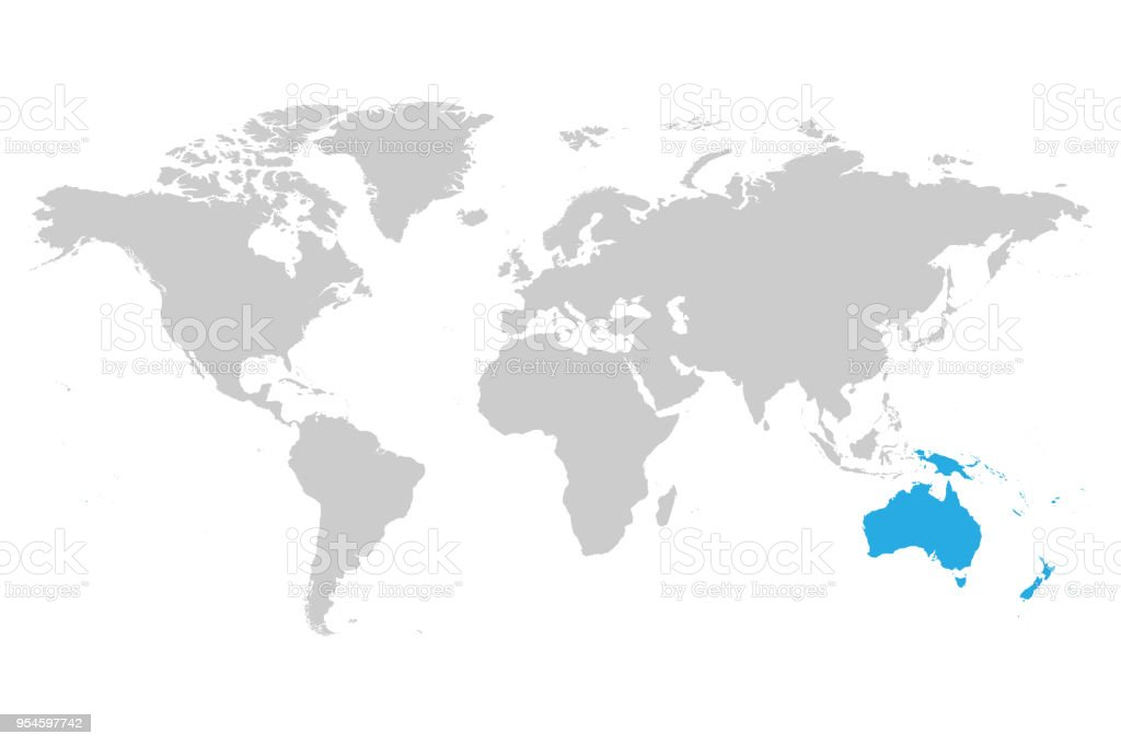 World Map With Australia.Australia Continent Blue Marked In Grey Silhouette Of World Map
