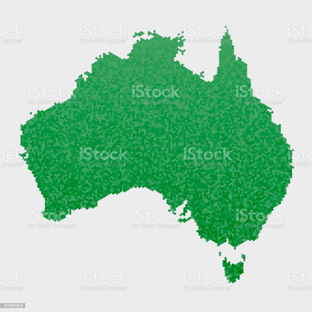 Australia Country Map.Australia Country Map Green Hexagon Pattern Stock Illustration