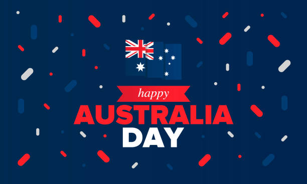 Australia Day. National happy holiday, celebrated annual in January 26. Australian flag. Patriotic elements. Poster, card, banner and background. Vector illustration vector art illustration