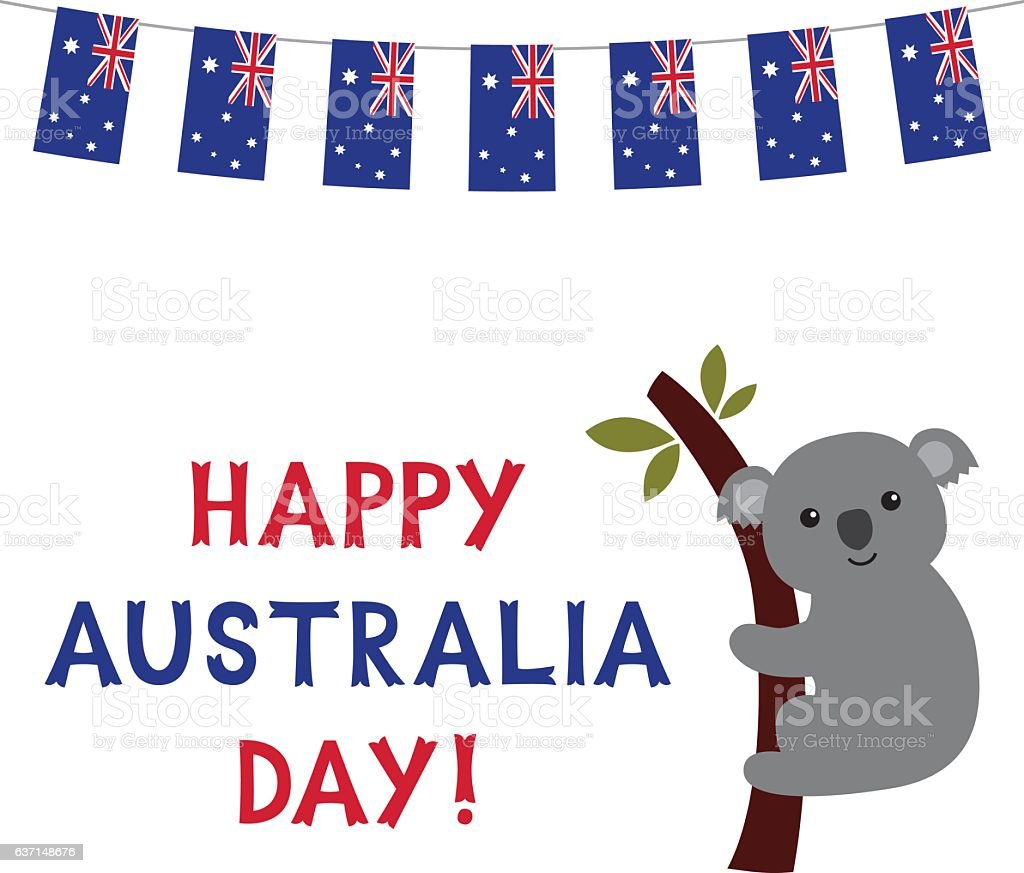 Australia Day vector card with a koala ベクターアートイラスト