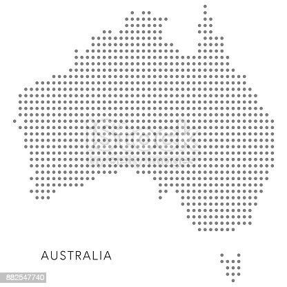 Vector illustration of a dotter map of Australia