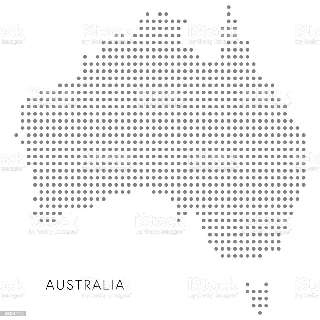 Australia dotted map vector art illustration