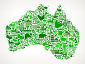 Australia Icon . The green vector icons create a seamless pattern and include popular farming and agriculture. Farm house, farm animals, fruits and vegetables are among the icons used in this file. The icons are carefully arranged on a light background and vary in size and shades of green color.
