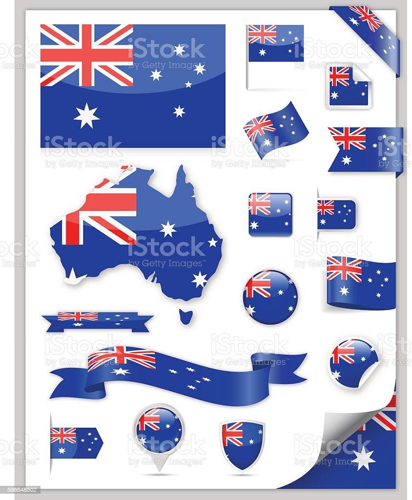オーストラリア国旗コレクション ベクターアートイラスト