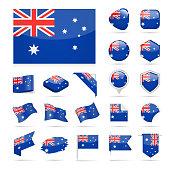 Australia - Flag Icon Glossy Vector Set