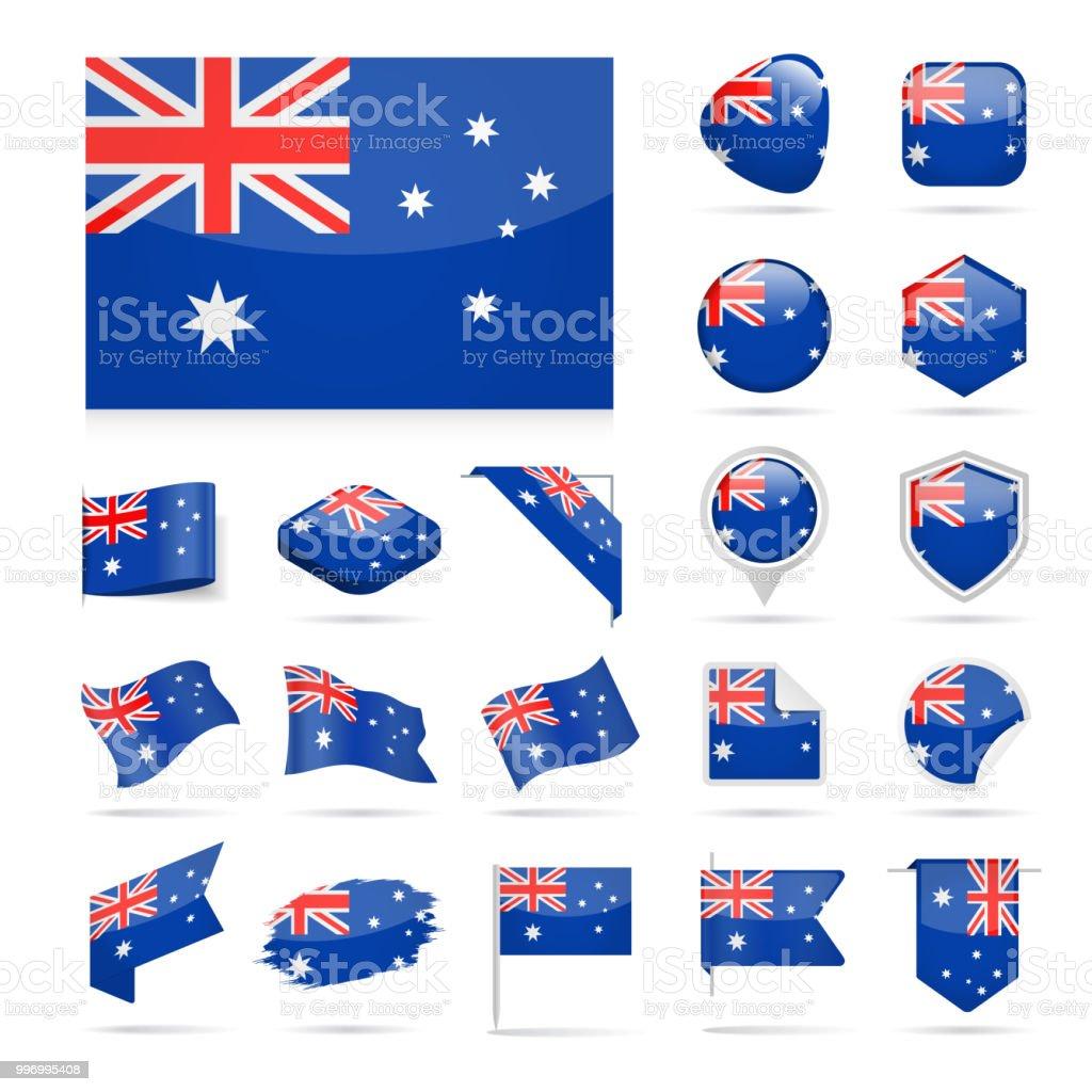 オーストラリア - フラグのアイコン光沢のあるベクトルを設定 ベクターアートイラスト