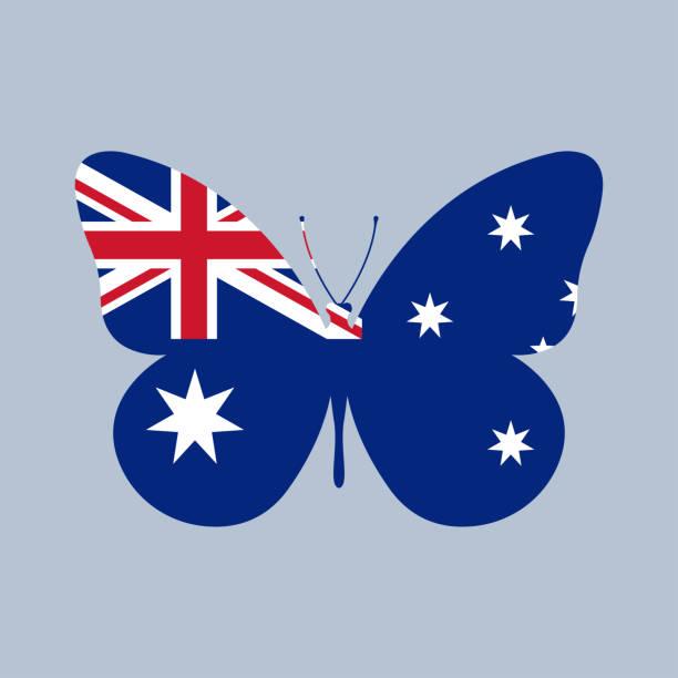 ilustrações, clipart, desenhos animados e ícones de ícone da bandeira de austrália na forma de uma borboleta. símbolo nacional australiano com cruz do sul. ilustração do vetor. - bandeira union jack