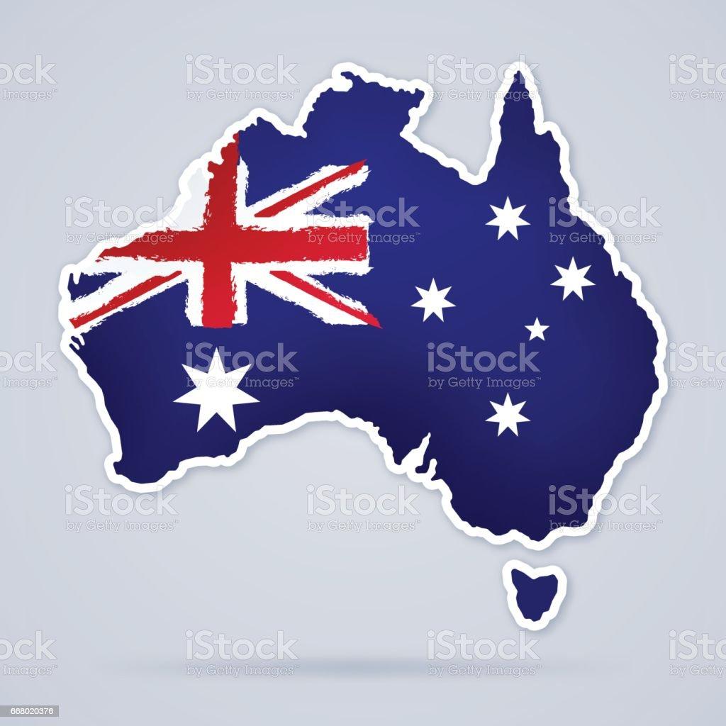オーストラリア国旗マップ ベクターアートイラスト