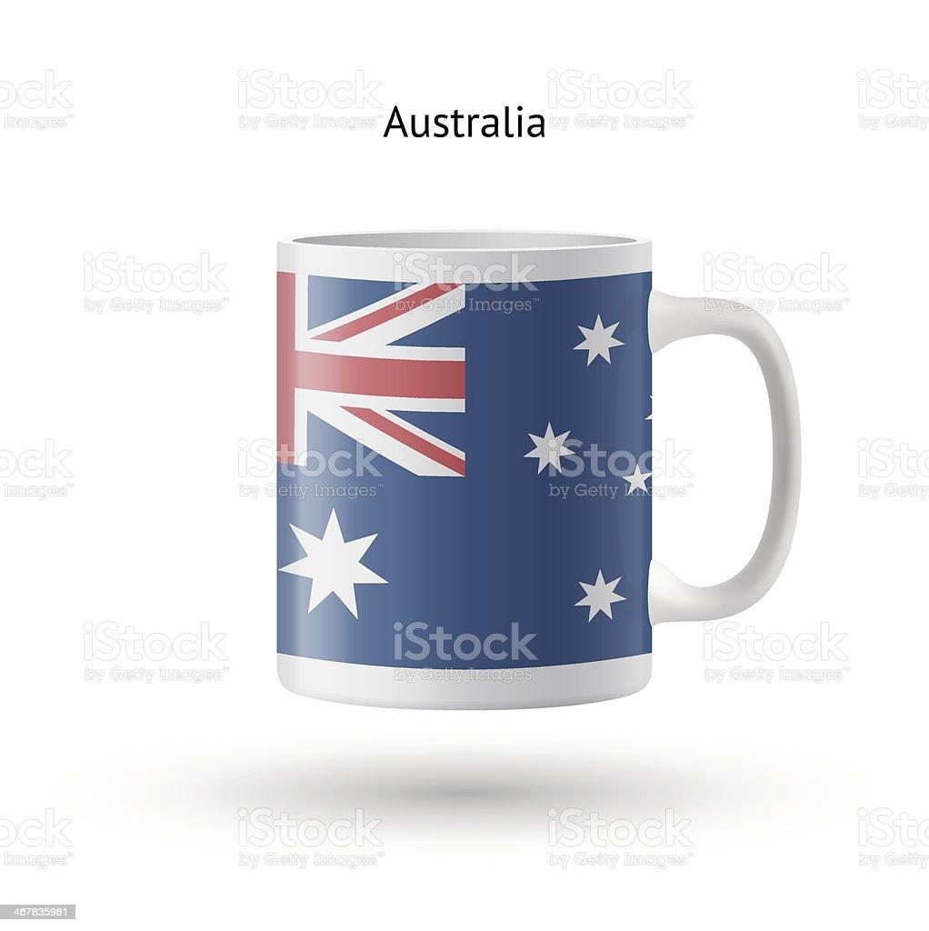 Australia flag souvenir mug on white background. vector art illustration