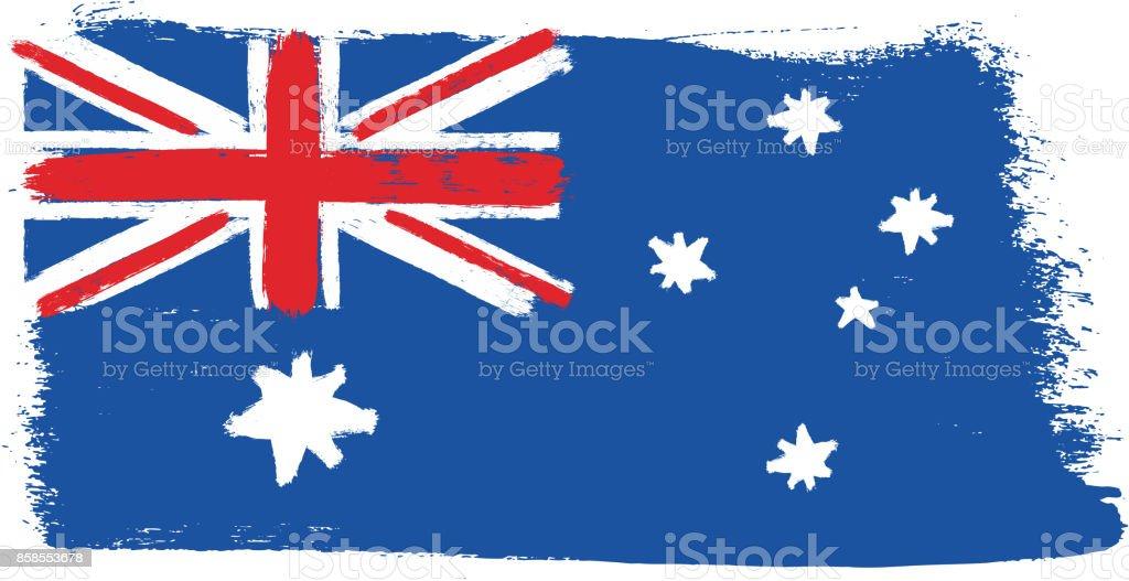 Avustralya Bayrağı Vektör El Yuvarlak Fırça Ile Boyalı Stok Vektör