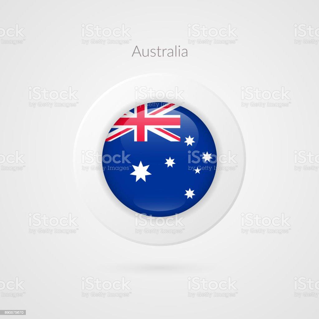 オーストラリアの国旗はベクトル記号です。オーストラリアの隔離された円記号です。プレゼンテーション、プロジェクト、広告、スポーツ イベント、旅行、コンセプト、web デザイン、バッジ、テンプレートの光沢のあるイラスト アイコン ベクターアートイラスト