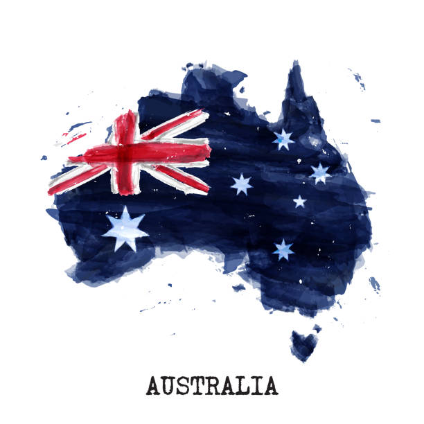 Australia flag watercolor painting design and country map shape with splatter color . isolated background . Vector . vector art illustration