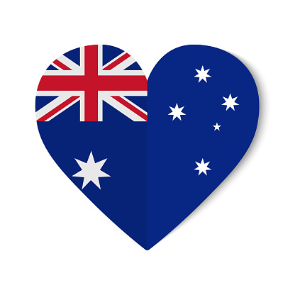 Australia flag with origami style on heart background