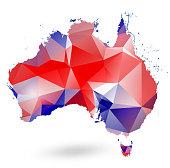 Australia geometric design map isolated on white