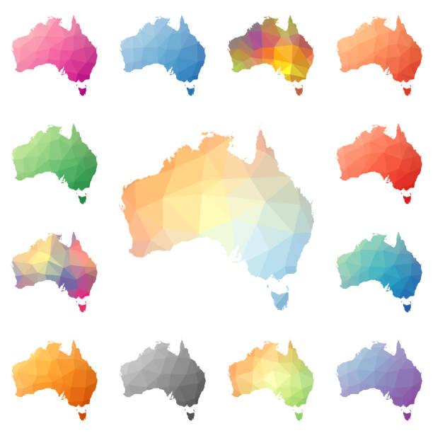 ilustraciones, imágenes clip art, dibujos animados e iconos de stock de australia geométrica poligonal, estilo mosaico mapas a colección. - australia