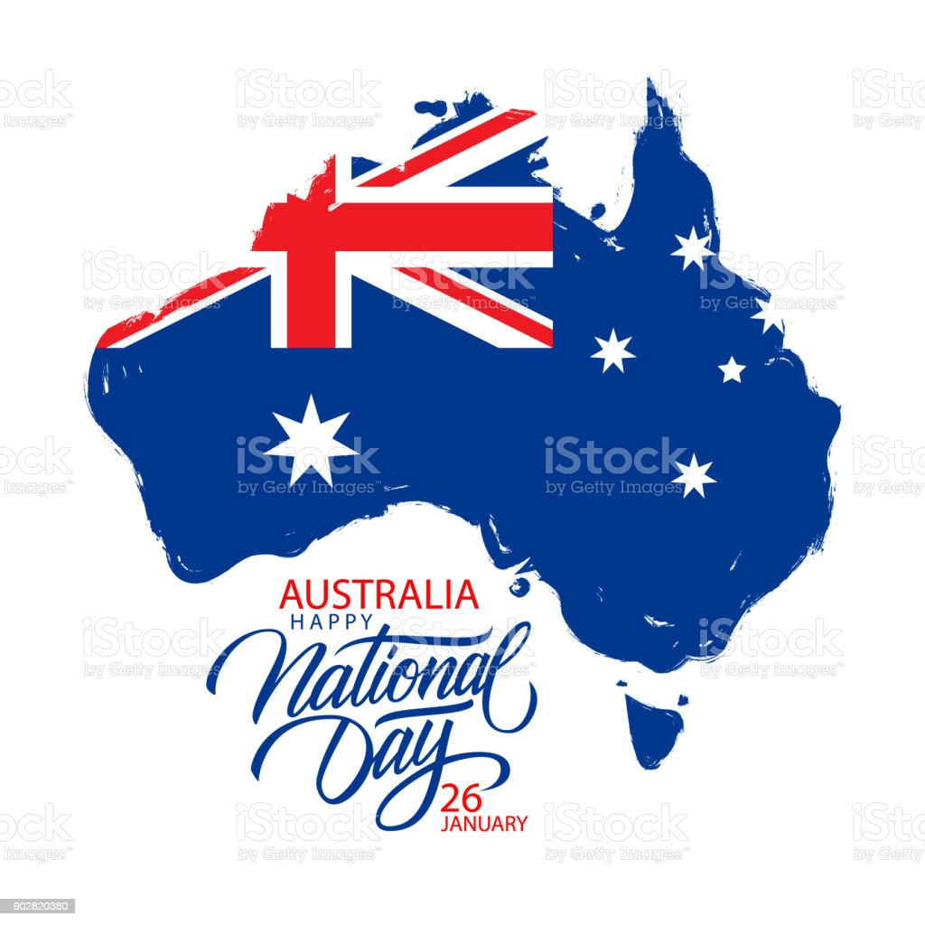 Australia happy national day january 26 greeting card with hand australia happy national day january 26 greeting card with hand lettering holiday greetings and brush m4hsunfo