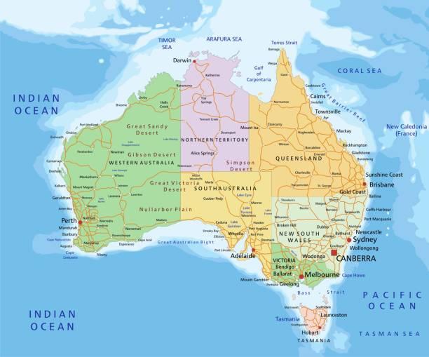 ilustraciones, imágenes clip art, dibujos animados e iconos de stock de australia-mapa político editable altamente detallado. - australia