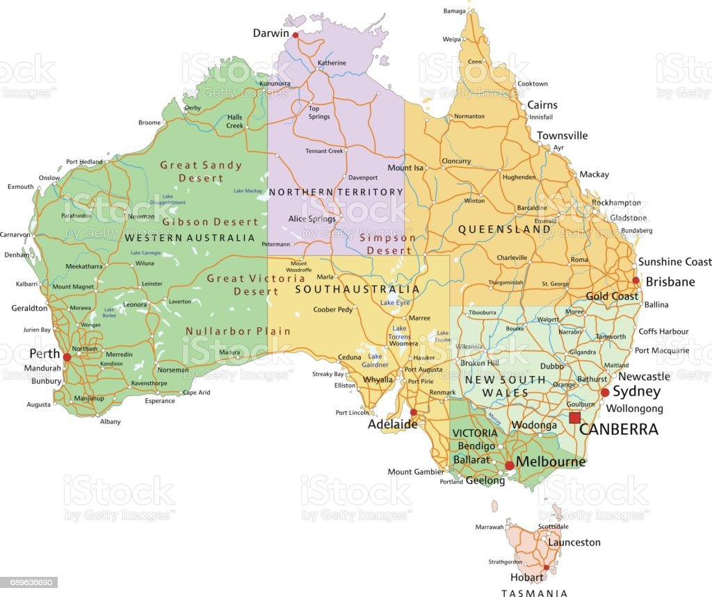 australia highly detailed editable political map with separated layers royalty free australia highly