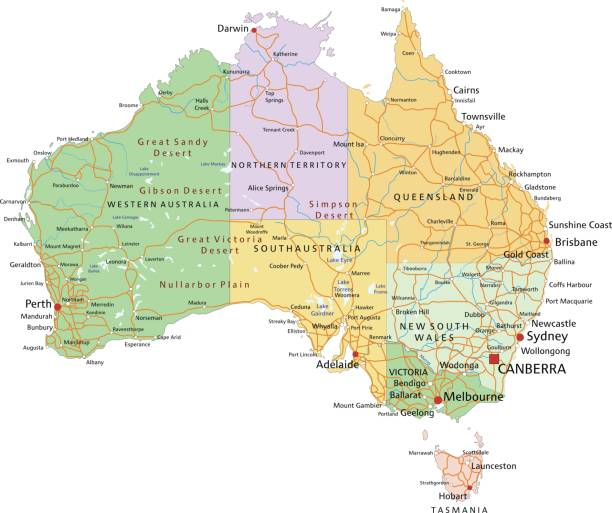 Australia - Highly detailed editable political map with separated layers. vector art illustration