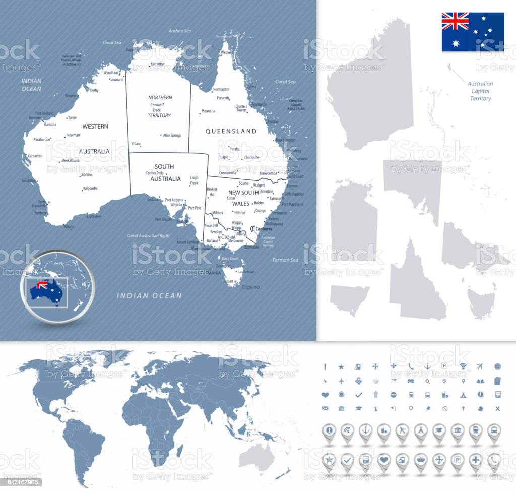 Australia highly detailed map and world map navigation set stock australia highly detailed map and world map navigation set royalty free stock vector art gumiabroncs Choice Image