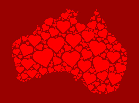 Australia Icon with Red Hearts Love Pattern