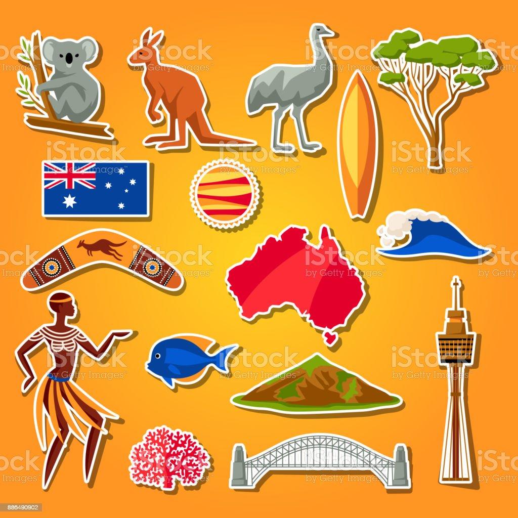 Australiensymbole Festgelegt Australische Traditionelle Aufkleber ...
