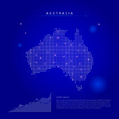 Australia illuminated map with glowing dots. Infographics elements. Dark blue space background. Vector illustration. Growing chart, lorem ipsum text.