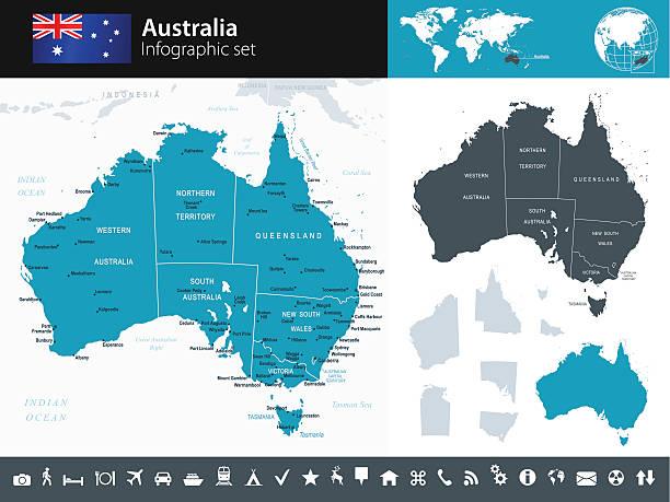 ilustraciones, imágenes clip art, dibujos animados e iconos de stock de mapa de australia-infografía-ilustración - australia