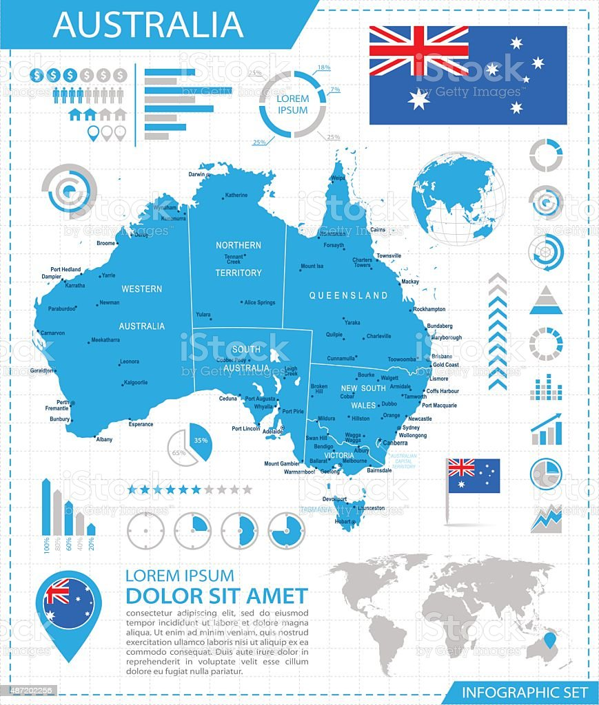 Australia - infographic map - Illustration vector art illustration