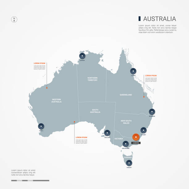 Australia infographic map vector illustration. Australia map with borders, cities, capital Canberra and administrative divisions. Infographic vector map. Editable layers clearly labeled. australia stock illustrations