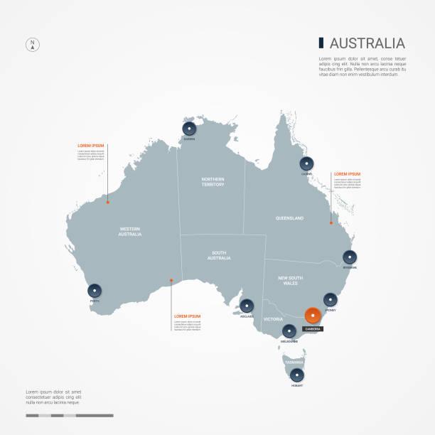 ilustraciones, imágenes clip art, dibujos animados e iconos de stock de ilustración de vector de australia infografía mapa. - australia