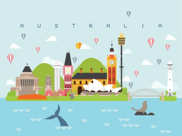 호주 관광 명소 여행 및 여행 벡터 벡터 아트 일러스트