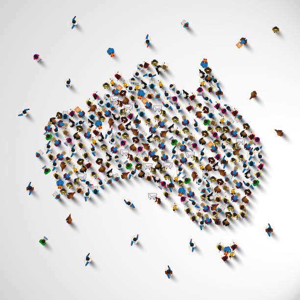 ilustraciones, imágenes clip art, dibujos animados e iconos de stock de muchas personas muestra mapa de australia. - australia