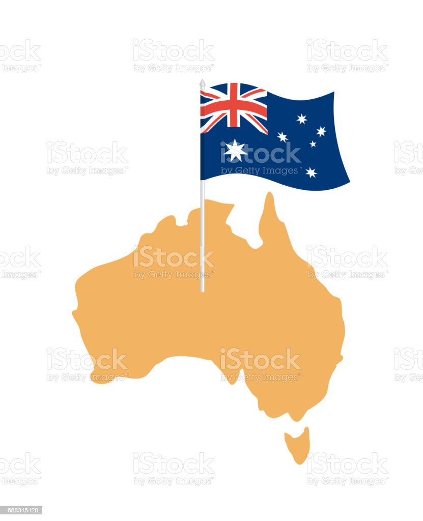 australia map and flag australian resource and land area state patriotic sign royalty