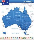 Australia - map and flag – illustration