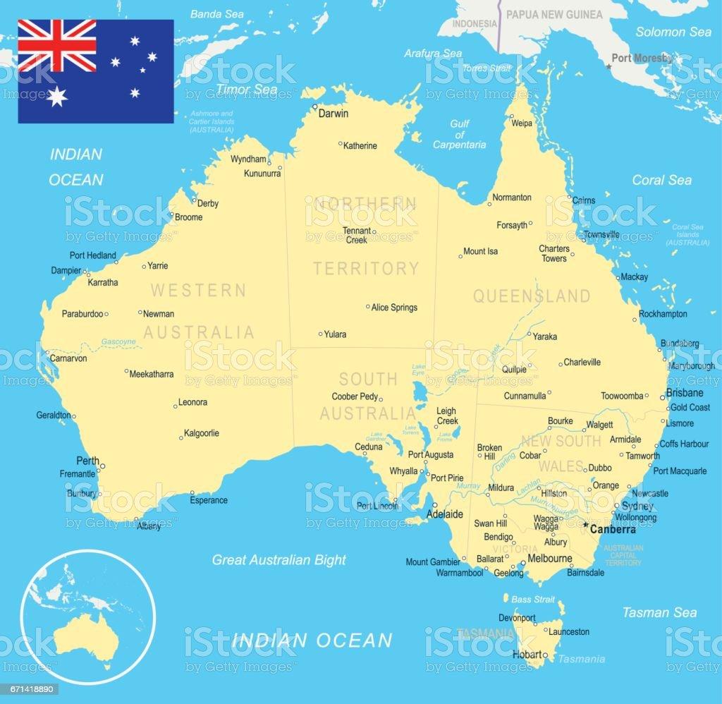 Karta Australien Adelaide.Australien Karta Och Flaggan Illustration Vektorgrafik Och Fler
