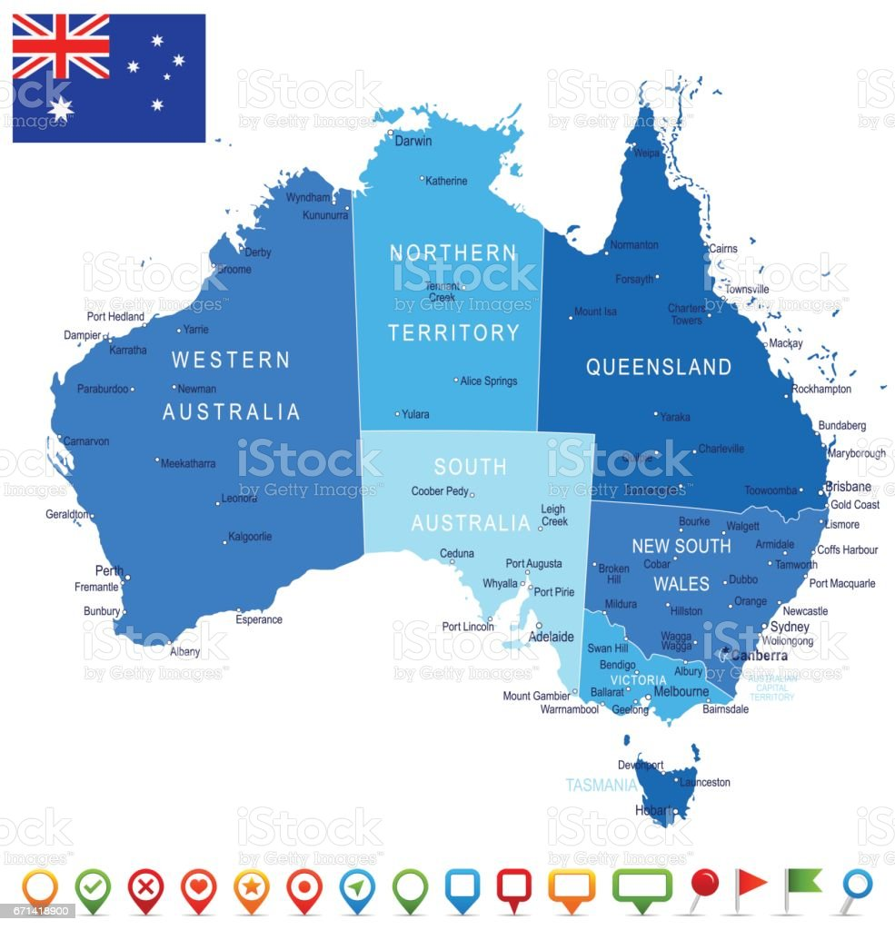 Australia Map Picture.Australia Map And Flag A Illustration Stock Vector Art More Images
