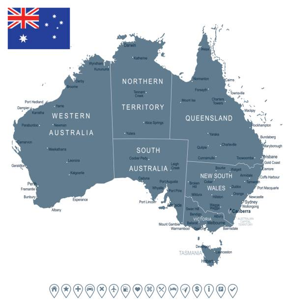 Australia - map and flag – illustration vector art illustration
