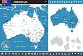 Australia - map and flag – infographic illustration