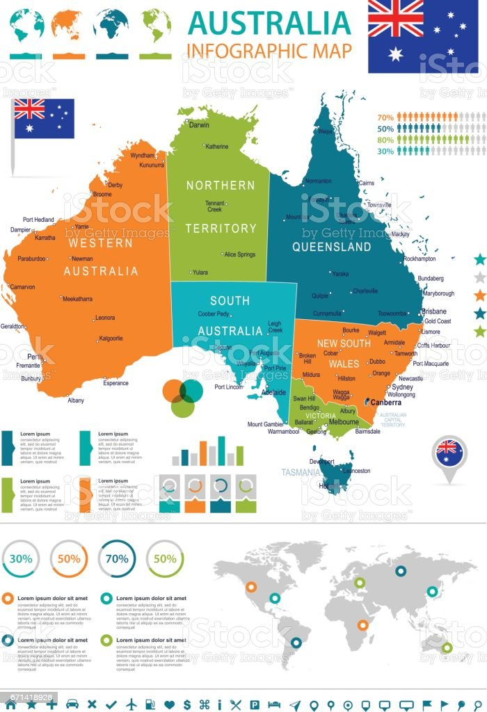 Australia map and flag infographic illustration stock vector art australia map and flag infographic illustration royalty free australia map and flag infographic gumiabroncs Images