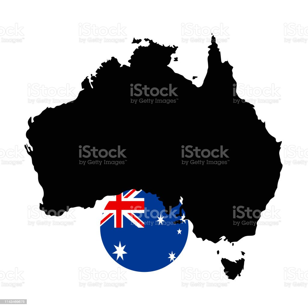 Australia Map With Flag.Australia Map And Flag Stock Vector Art More Images Of Australia