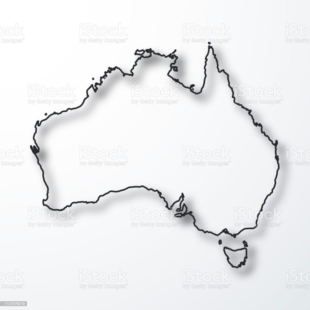 Map Outline Australia.Australia Map Black Outline With Shadow On White Background Stock