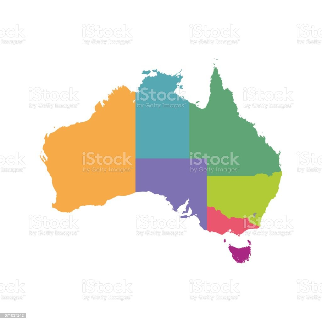 Australia map color with regions vector flat stock vector art more australia map color with regions vector flat royalty free australia map color with regions gumiabroncs Image collections