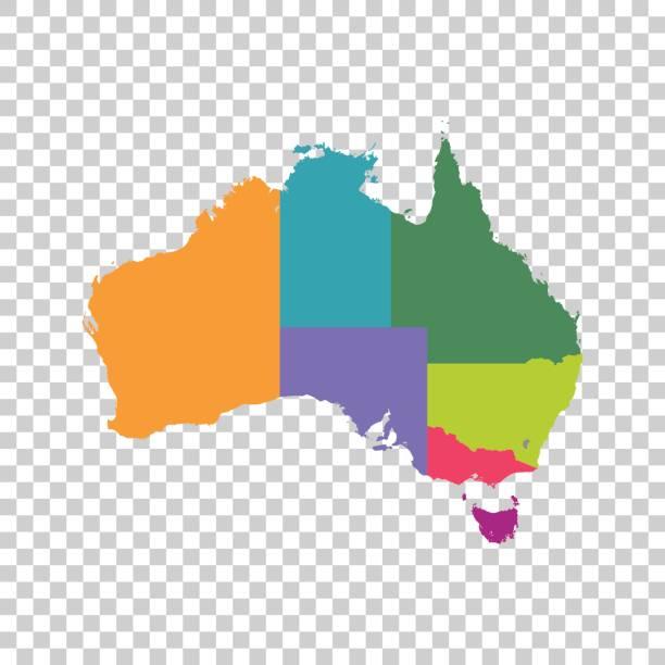 Australia map color with regions. Vector flat vector art illustration