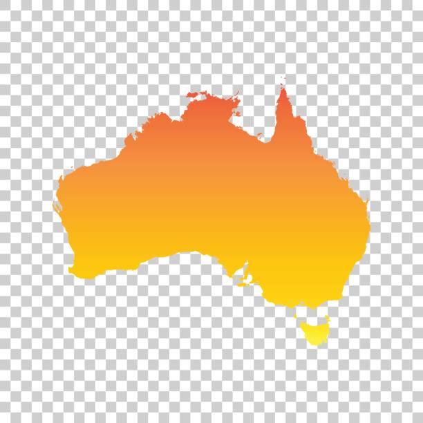 australia map. colorful orange vector illustration - western australia stock illustrations